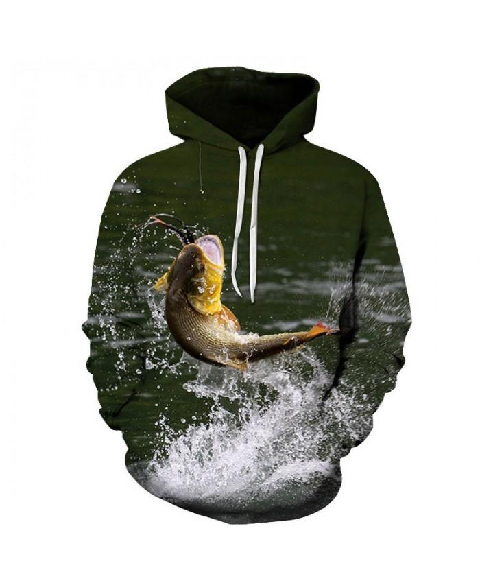 Fish Bite The Rope 3D Printed Men Pullover Sweatshirt Clothing for Men Custom Pullover Hoodie Streetwear Sweatshirt