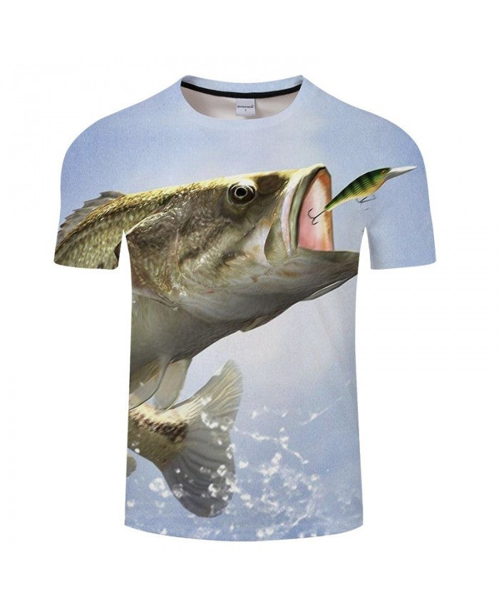 Fish Eating Flying Animals 3D Print tshirt Men tshirt Summer Casual 2019 New Short Sleeve O-neck Tops&Tee Drop Ship