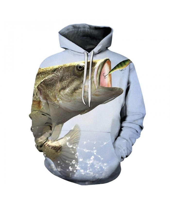 Fish Eating Flying Animals 3D Printed Men Pullover Sweatshirt Clothing for Men Custom Pullover Hoodie Streetwear