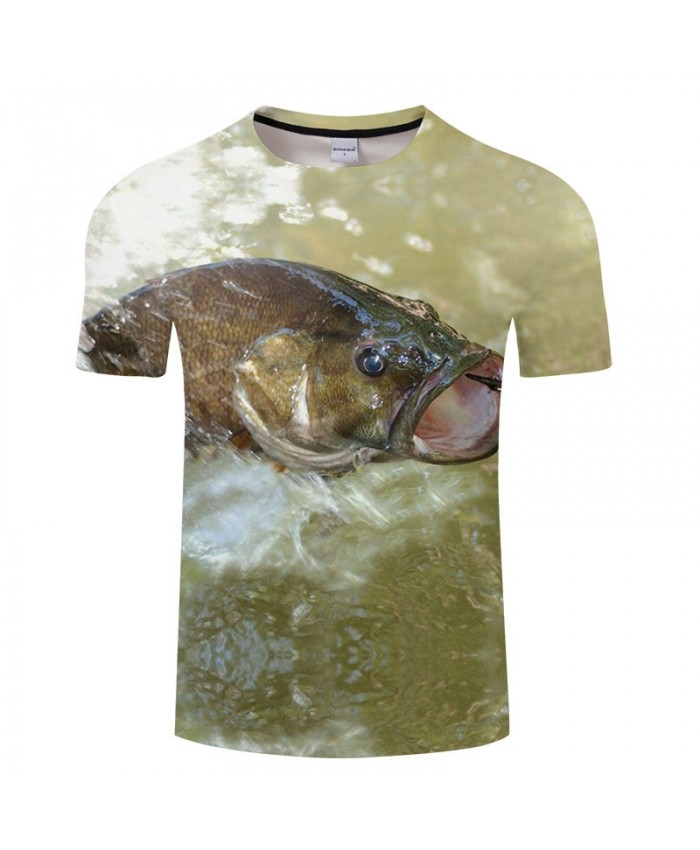 Fish Open Mouth 3D Print tshirt Men tshirt Summer Casual Short Sleeve Male Quick Dry O-neck Tops&Tee Drop Ship