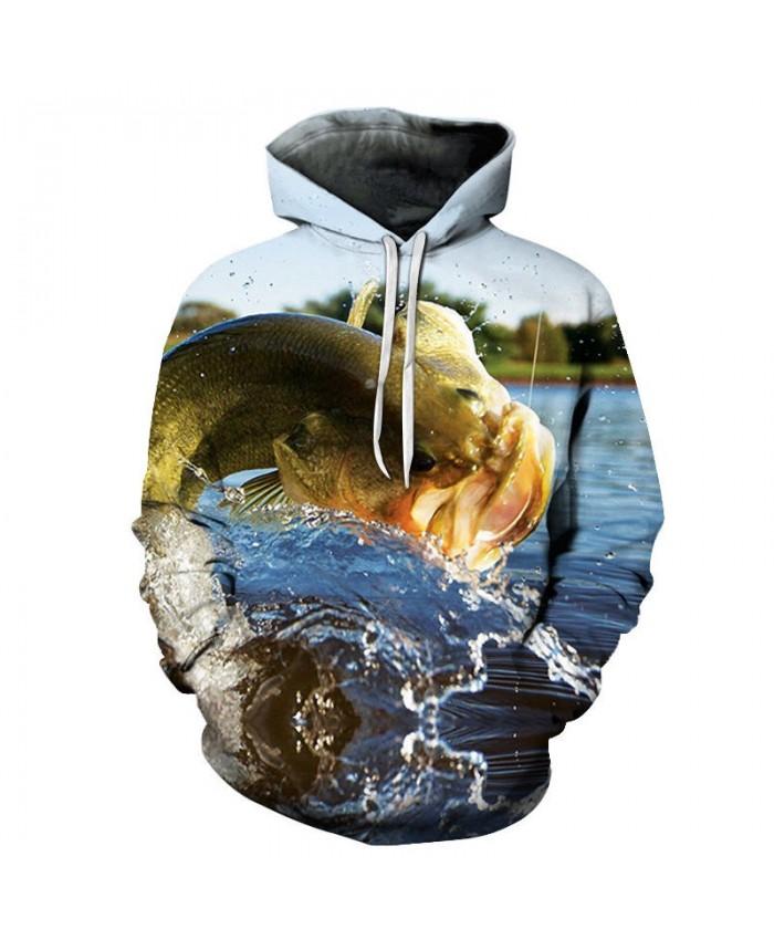 Fish Playing 3D Printed Men Pullover Sweatshirt Clothing for Men Custom Pullover Hoodie 2019 Streetwear Sweatshirt