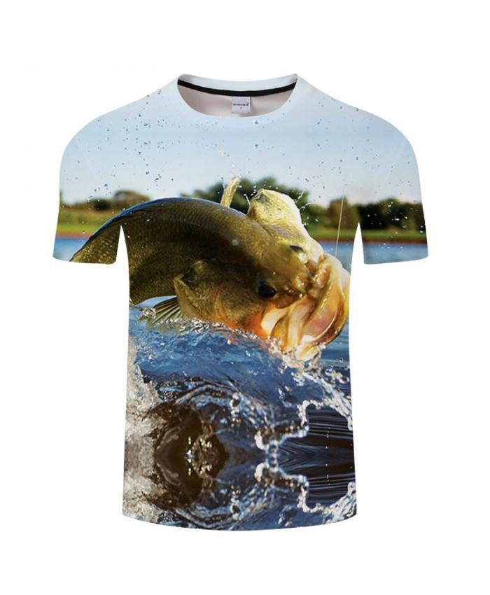 Fish Playing With Water 3D Print T Shirt Men tshirt Summer Casual Slim Men Short Sleeve O-neck Tops&Tee Drop Ship