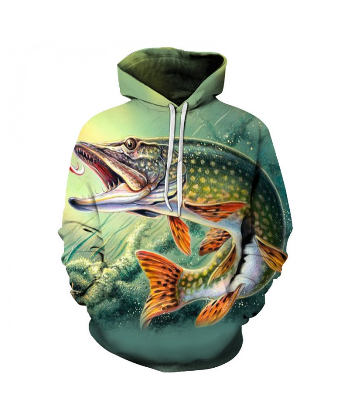 Fish Print Hoodies Seaworld 3D Men Tracksuits Sweatshirt Unisex Drop Ship Long Sleeve Pullover Summer