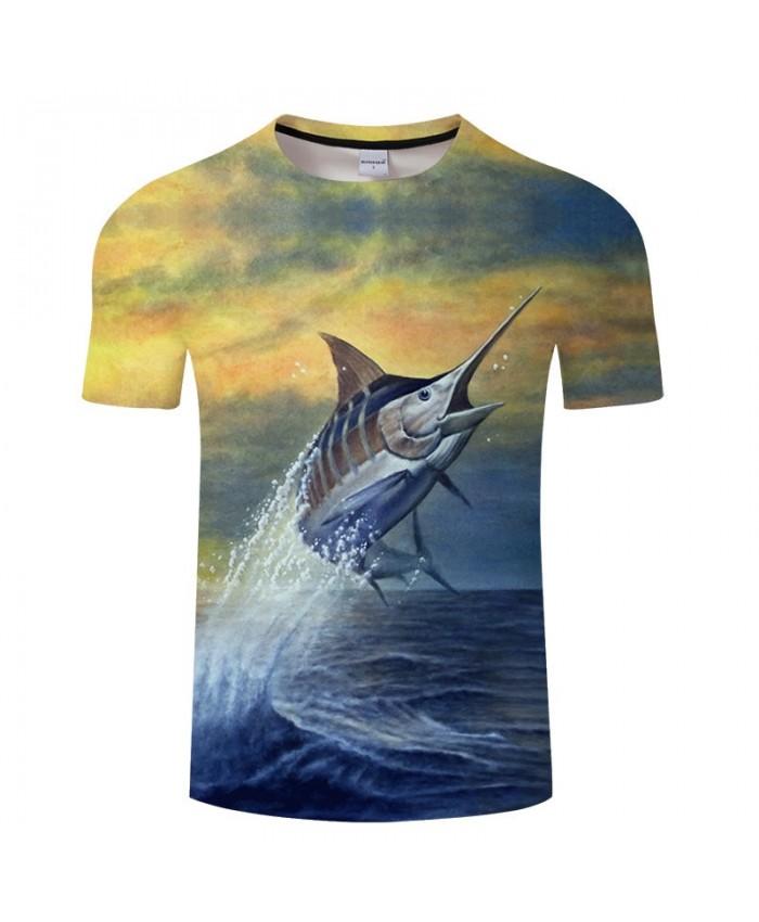 Fish Rushing Out Of The Water 3D Print T Shirt Men tshirt Summer Casual Slim Men tshirt Short Sleeve O-neck Tops&Tee