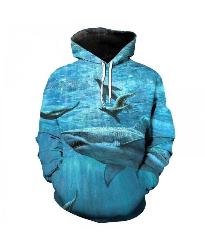 Fish Series Blue Casual Pullover Shark Seal Print Fun 3D Hooded Sweatshirt Men Women Casual Pullover Sportswear