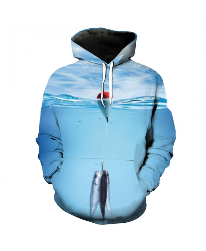 Fish Series Float Ball Small Fish Print Casual Blue Hooded Sweatshirt Men Women Casual Pullover Sportswear