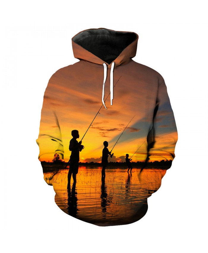 Fish Style Beach Best Friend Fun Hooded Sweatshirt 3D Pullover Men Women Casual Pullover Sportswear