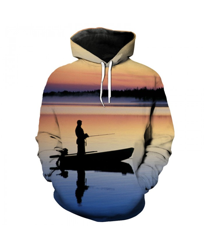 Fish Style Dusk Angler Casual Hooded Sweatshirt Fashion pullover Men Women Casual Pullover Sportswear