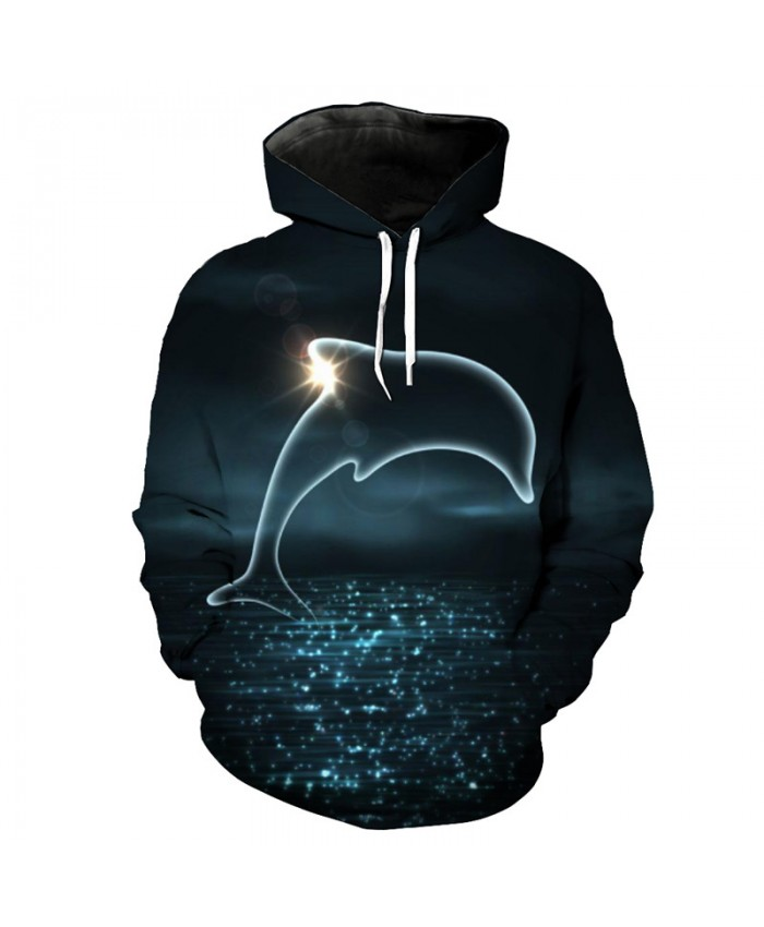 Fish Style Fashion Dolphin Print Cool Hooded Sweatshirt Men Women Pullover Men Women Casual Pullover Sportswear