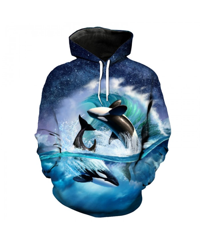 Fish Style Playful Blue Whale Print Fashion Hooded Sweatshirt Cool Sportswear Men Women Casual Pullover Sportswear