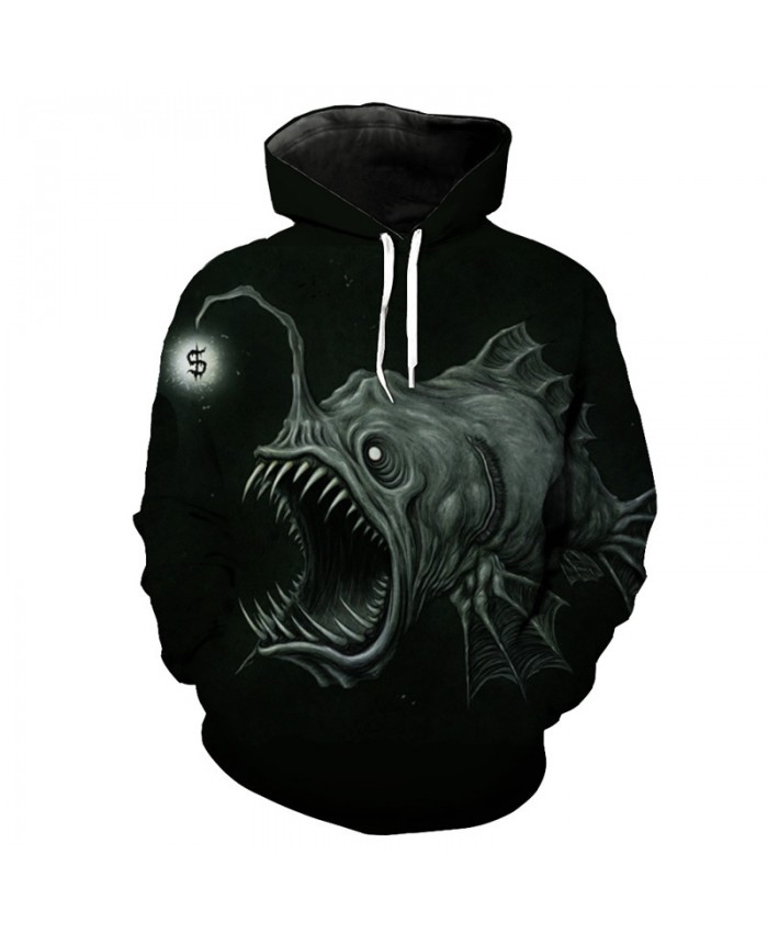 Fish series black hooded sweatshirt lantern fish print casual pullover Men Women Casual Pullover Sportswear