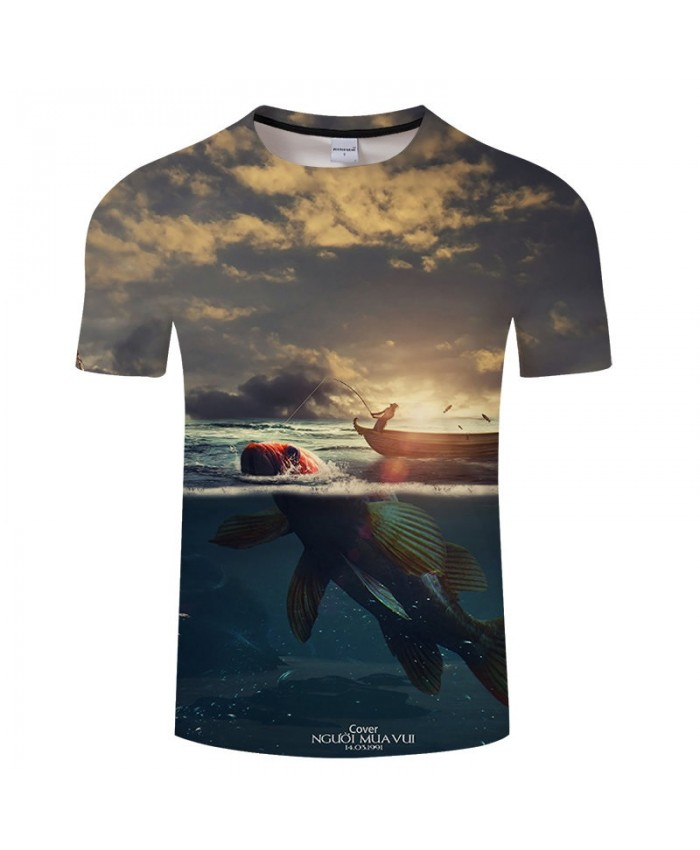 Fishermen Fishing 3D Print tshirt Men tshirt Summer Casual Slim 2021 Hot Sell Short Sleeve O-neck Tops&Tee Drop Ship