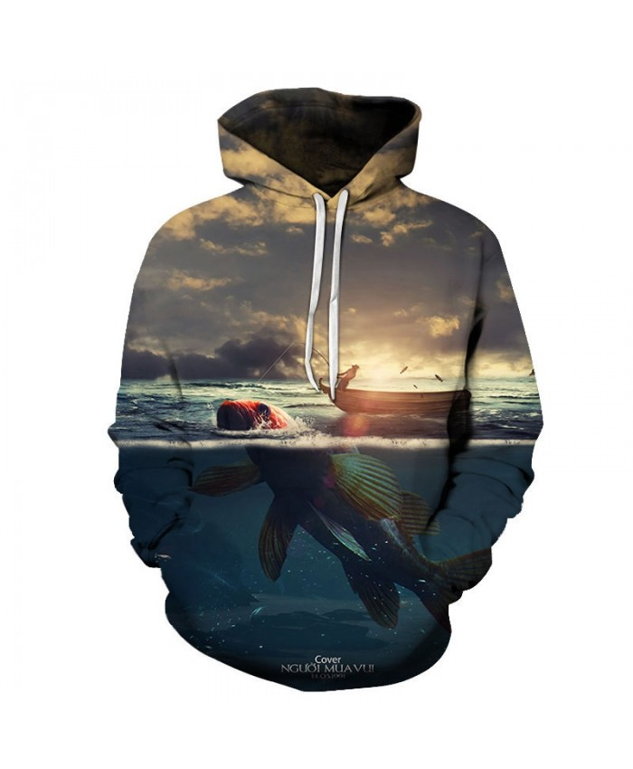 Fishermen Fishing 3D Printed Men Pullover Sweatshirt Clothing for Men Custom Pullover Hoodie Streetwear Sweatshirt