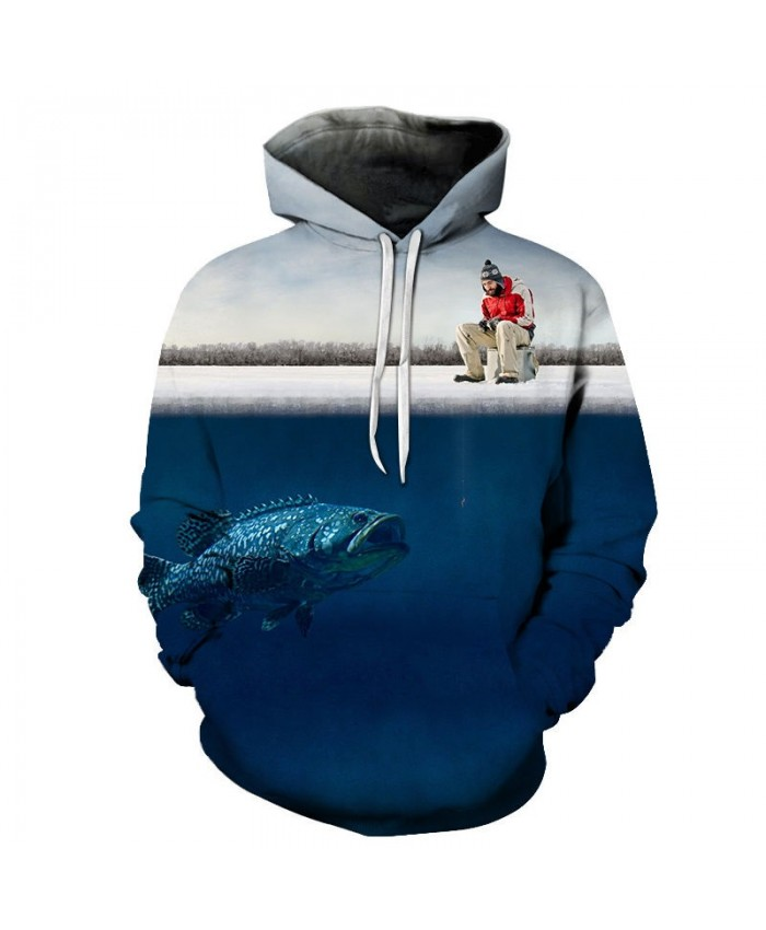 Fishing For Fish Under Ice 3D Printed Men Pullover Sweatshirt Clothing for Men Custom Pullover Hoodie Streetwear