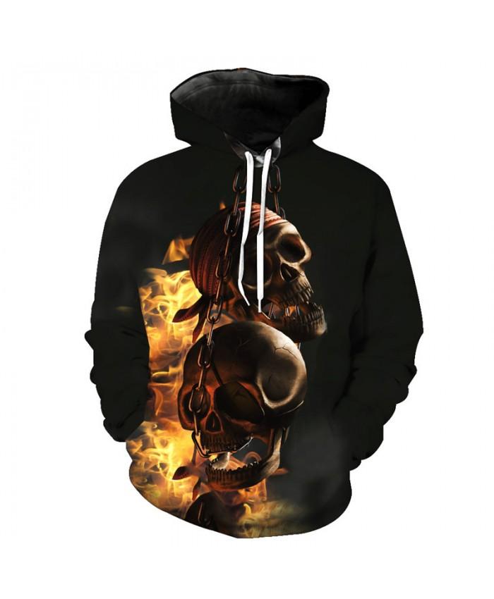 Flame Skull Hoodies New Arrive Chain Skull Black Street Pullover Tracksuit Pullover Hooded Sweatshirt