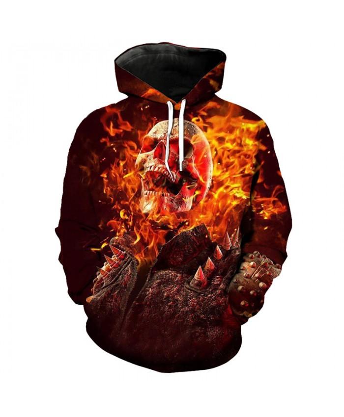 Flame Skull Knight Print 3D Hooded Sweatshirt Latest Fashion Sportswear Pullover Tracksuit Pullover Hooded Sweatshirt
