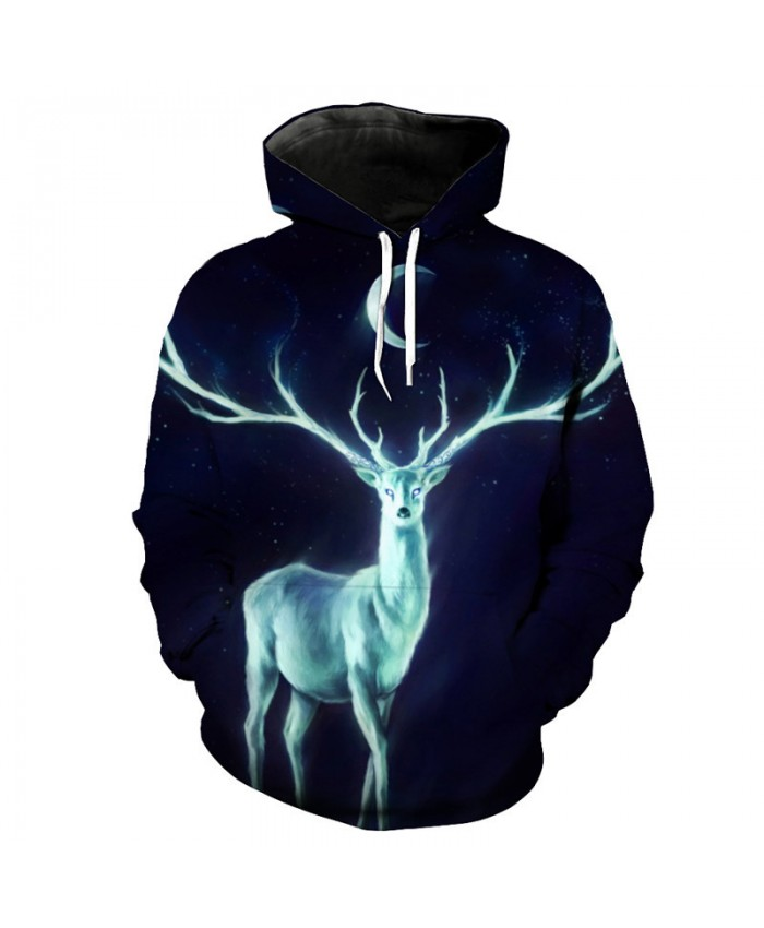 Flame Star Deer Print Fashion 3D Hooded Sweatshirt Cool Pullover