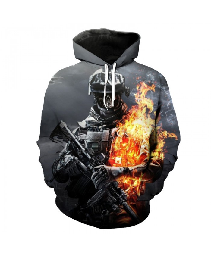 Flame Warrior Skull Print Fashion Gray Hooded Sweatshirt Cool Sportswear