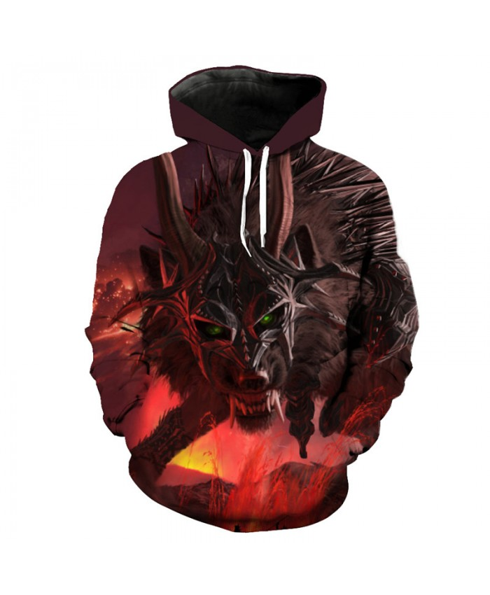 Flame Warrior Wolf Hooded Sweatshirt Fashion Pullover Men Pullover Men Women Casual Pullover Sportswear
