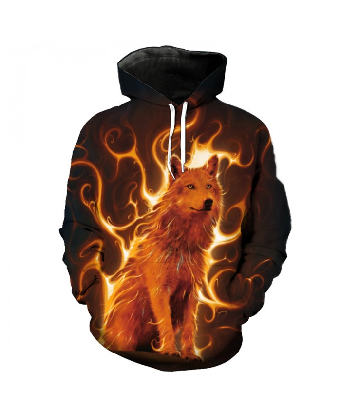 Flame Wolf Print Fashion Hooded Sweatshirt New Arrive Men Pullover Tracksuit Pullover Hooded Sweatshirt