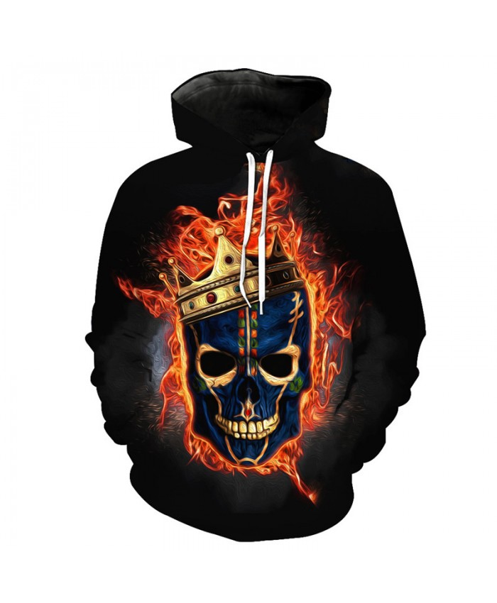 Flame-neutral Hooded Pullover Crown Skull Fashion Sweatshirts Tracksuit Pullover Hooded Sweatshirt