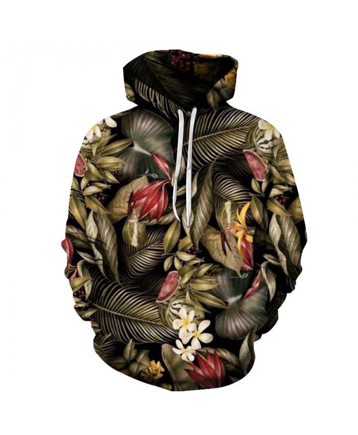 Floral Leaves Printing Hoodies 3D Streetwear Hoody Mens Hoody Sweatshirt Autumn Winter 2018 Clothing Drop Ship