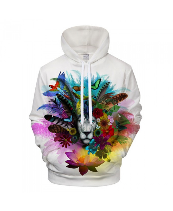 Flower Lion Hoodies Sweatshirts Men Hoodie Brand Hoodie Autumn Pullover Fashion Tracksuits Animal Novelty Streetwear Male Coats