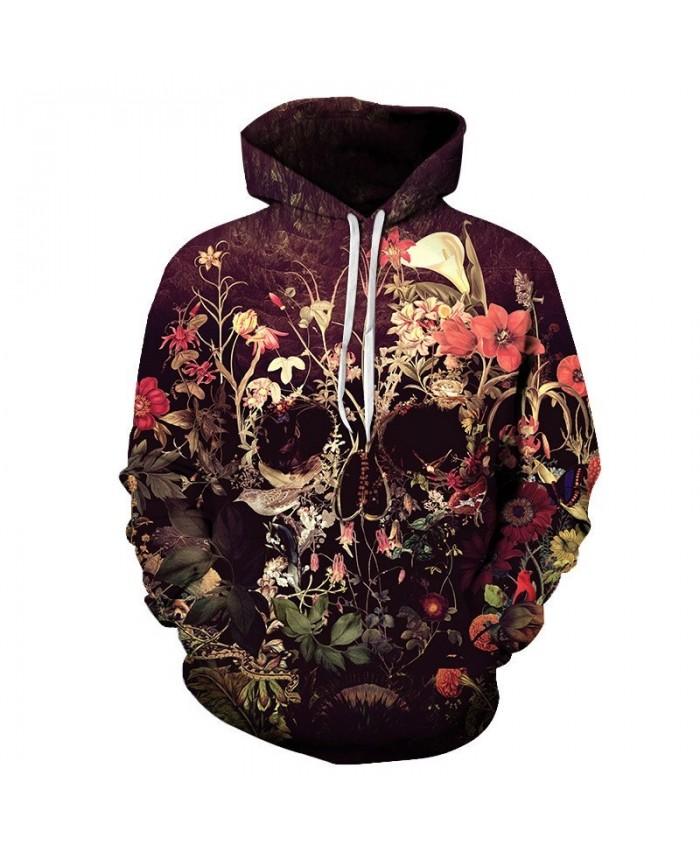 Flower Skull By ALI Artist Unisex Hoodie 3D Print Sweatshirts Pullover Harajuku Mens Hoody Casual Streetwear Autumn Male Coat