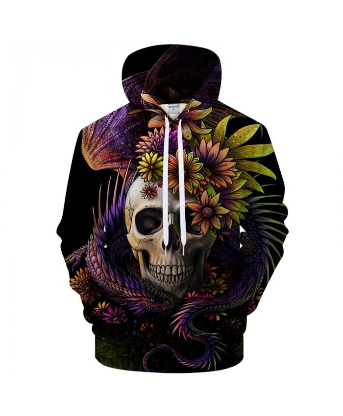 Flowery Skull By SunimaArt 3D Hoodie Men Sweatshirt Brand Hoodie Tracksuit Drop Ship Pullover New Skull Design