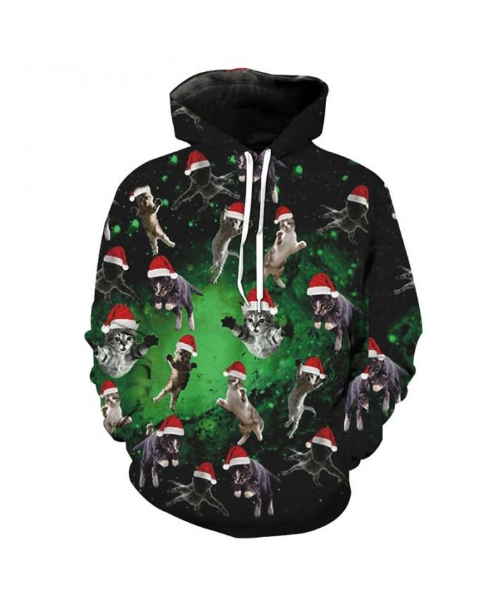 Flying Christmas Cat Neutral Hooded Sweatshirt Latest Pullover sweatshirt 3D Pattern Print Hoodies Men Women Casual Sweatshirt
