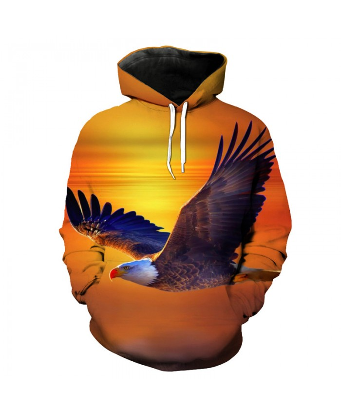 Flying Eagle Print Fashion Yellow Hooded Sportswear Pullover Casual Hoodie Autumn Tracksuit Pullover Hooded Sweatshirt