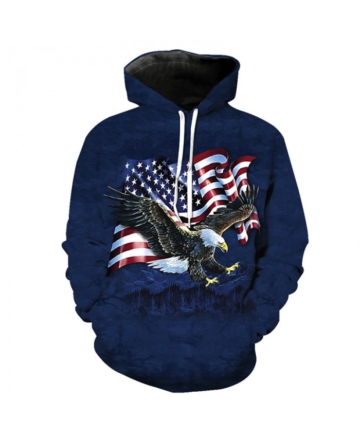 Flying Flag Eagle Fashion Blue Hooded Sweatshirt Fall Pullover Casual Hoodie Autumn Tracksuit Pullover Hooded Sweatshirt