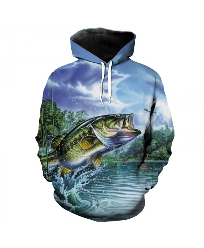Flying fish eat dragonfly print 3D hooded sweatshirt Fashion pullover Men Women Casual Pullover Sportswear