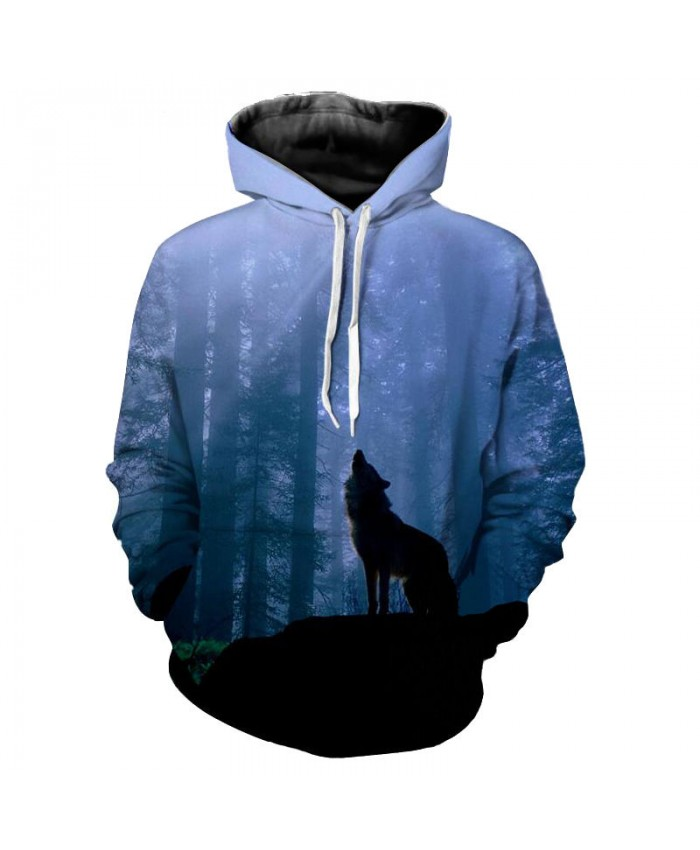 Fog Forest Wolf Print Men Women Hooded Sweatshirt Fashion Hoodies Men Women Casual Pullover Sportswear