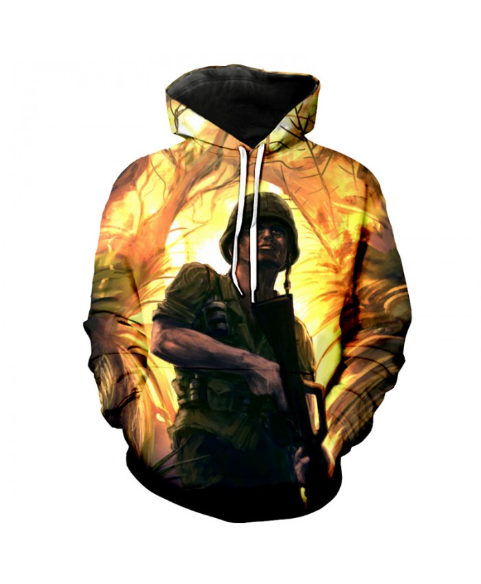 Forest Battlefield Smoke Fire Soldier Pringting Cool Hoodies Latest Fall Pullover Fashion Hooded Sweatshirt