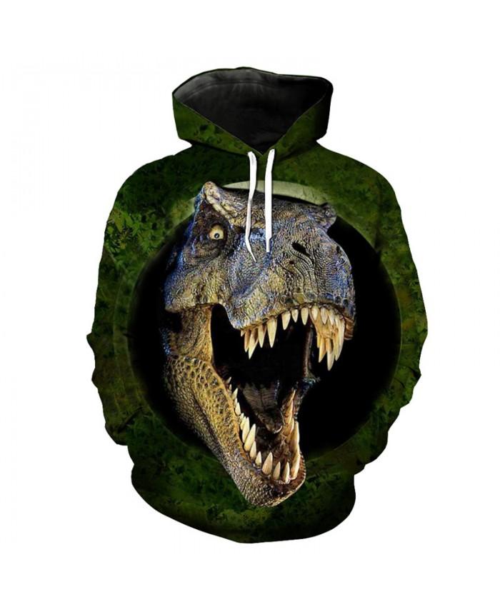 Forest Roaring Tyrannosaurus Print Funny Street Sportswear Fashion Hooded Pullover Sweatshirt