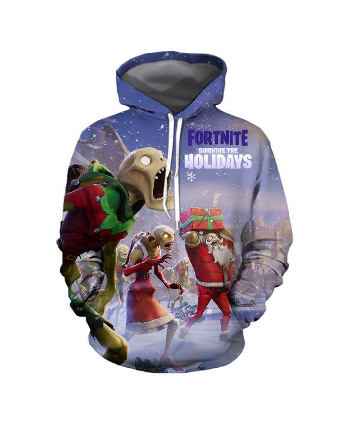 Fortnite survive the Holidays Christmas Hoodies 3D Sweatshirts Men Women Hoodie Print Couple Tracksuit Hooded Hoody Clothing