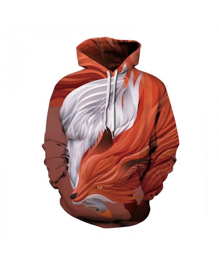 Fox Plus Size Hoodies 3d Wolf Print Sweatshirts Men Women Autumn Winter Casual Pullover Male Female Tracksuit Jacket