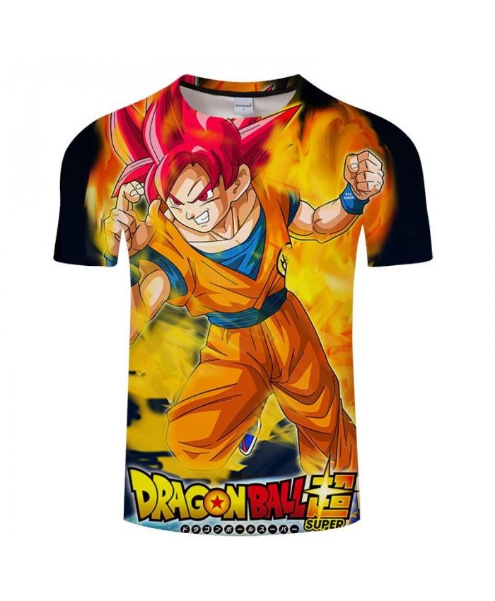 Full Of Flame Cartoon Goku Dragon Ball 3D Print Men tshirt Casual Summer 2019 New tshirt Short Sleeve Male Drop Ship