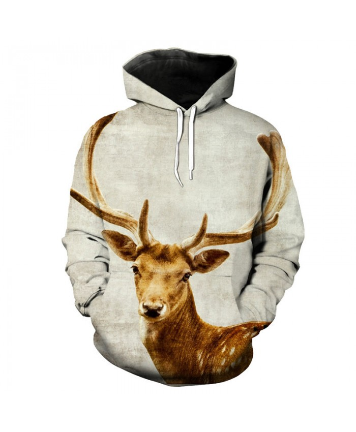 Fun 3d deer print fashion hooded sweatshirt Casual sportswear