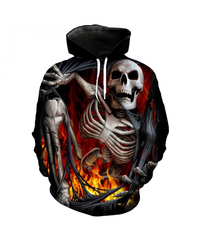 Fun 3d skull printed fashion men's hooded sweatshirt hip hop streetwear pullover Tracksuit Pullover Hooded Sweatshirt