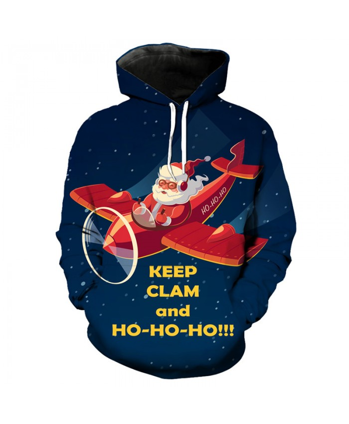 Fun Airplane Santa Print Fashion Blue Hoodie Sweatshirt Christmas Pullover Dropshipping and Wholesale EU Size
