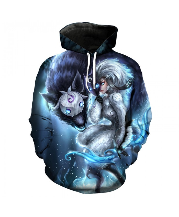 Fun Anime Wolf Knight Print Fashion 3D Hooded Sweatshirt Pullover Men Women Casual Pullover Sportswear