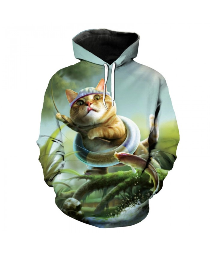 Fun Cat Catching Fish 3D Printing Fashion Hooded Sweatshirt Casual Pullover Men Women Casual Pullover Sportswear