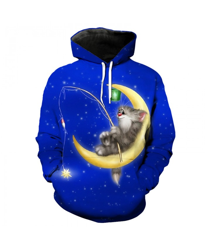 Fun Moon Cat Fish Print 3D Hooded Sweatshirt Men Women Casual Pullover Sportswear