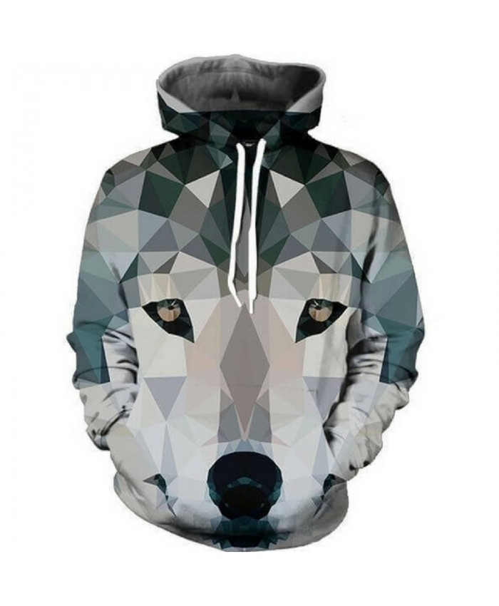 Fun Plaid Wolf Printed Men Women Hooded Sweatshirt Men Women Casual Pullover Sportswear