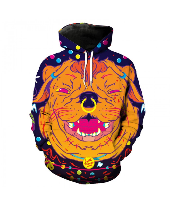 Fun Psychedelic Dog Print Fashion Hooded Sweatshirt Men Women Sportwear