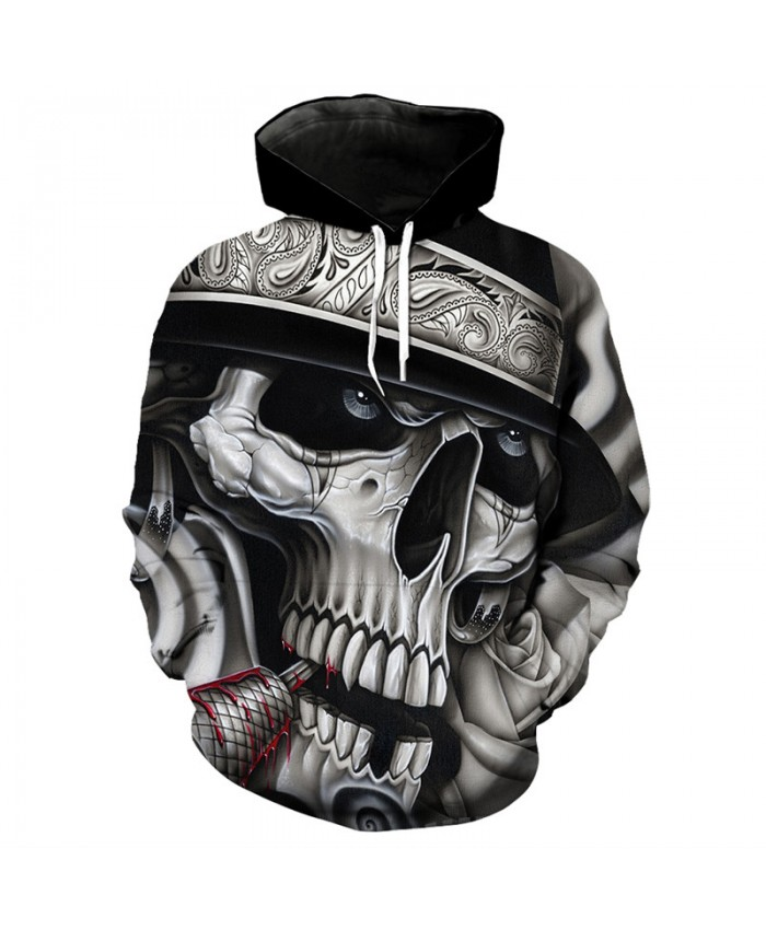 Fun aristocratic lady skull print fashion cool hooded sweatshirt skull series pullover Tracksuit Pullover Hooded Sweatshirt