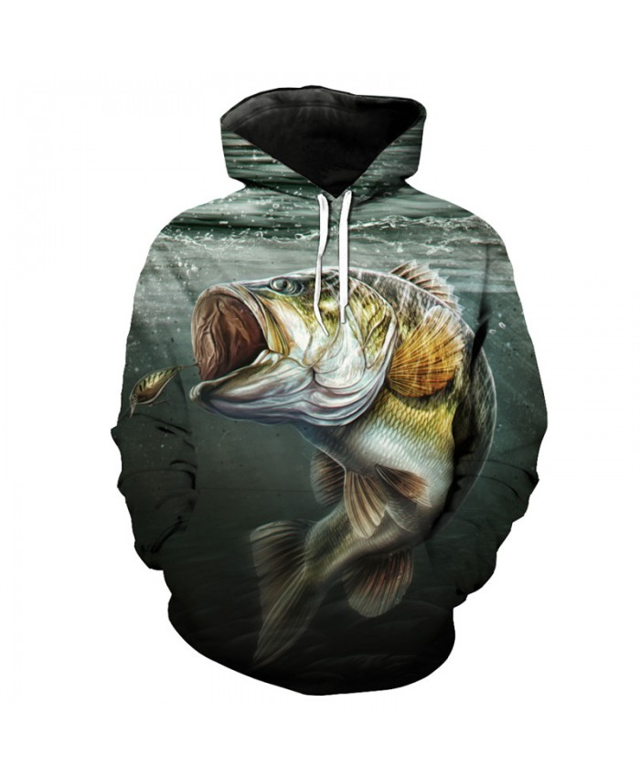 Fun eating hook fish print 3D hooded pullover fish series sportswear Men Women Casual Pullover Sportswear