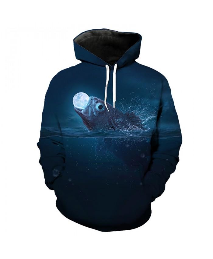 Fun fish swallow moon 3d hooded sweatshirt fashion pullover Men Women Casual Pullover Sportswear